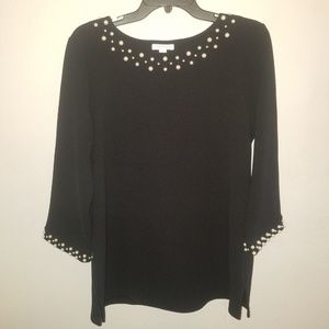 Charter Club Tops - Charter Club Black Blouse with Pearl Embelishments